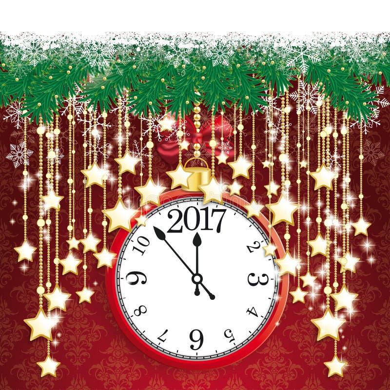 Schnee-Tannen-Zweige Bokeh der Uhr-2017 goldene Vorhang-Sterne stock abbildung