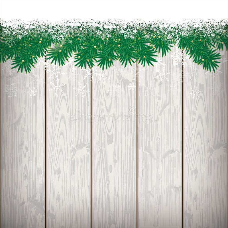 Schnee-Tannen-Zweige Bokeh-Holz-Latten stock abbildung