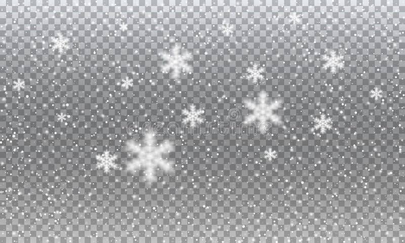 schnee Transparenter realistischer Schneehintergrund des Vektors Weihnachts- und des neuen Jahresdekoration stock abbildung