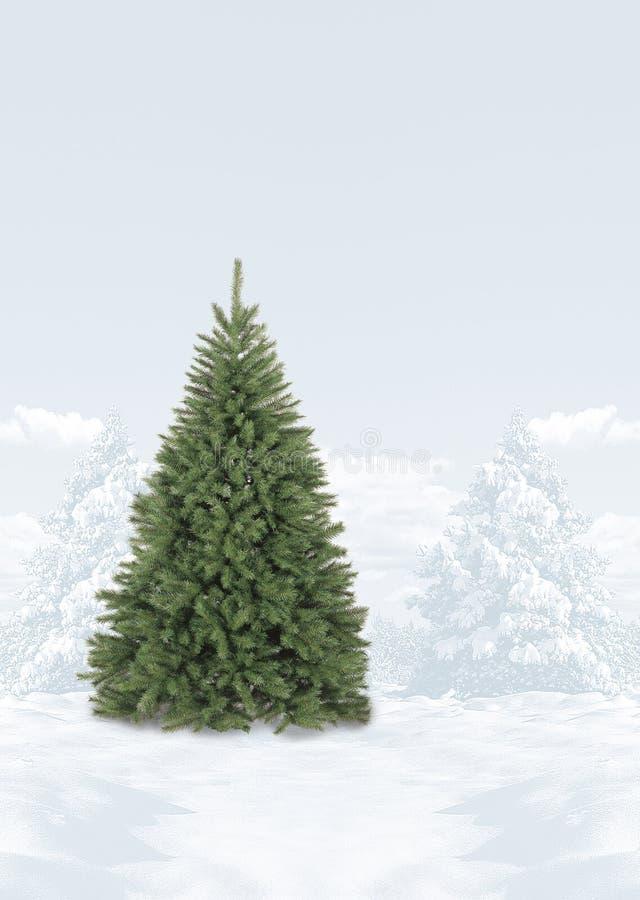 Schnee umfasste Weihnachtsbaumszene lizenzfreie stockbilder