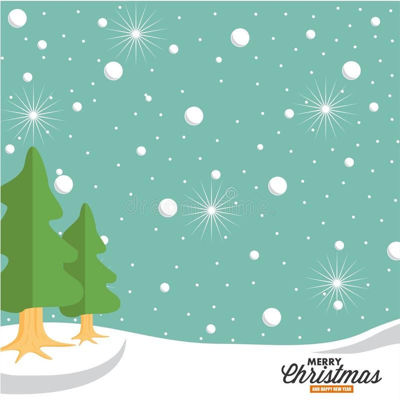 Schnee und grüne gezierte Baumillustration lizenzfreie stockfotos