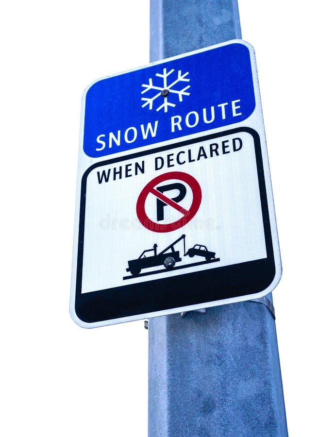 Schnee-Weg-Zeichen, Parkverbot, wenn Sie erklärt werden lizenzfreies stockfoto