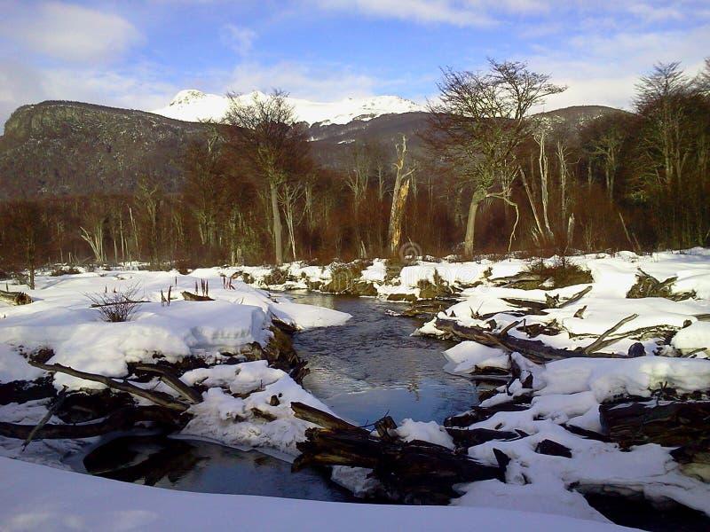 Schnee-Weltende Argentinien stockfoto