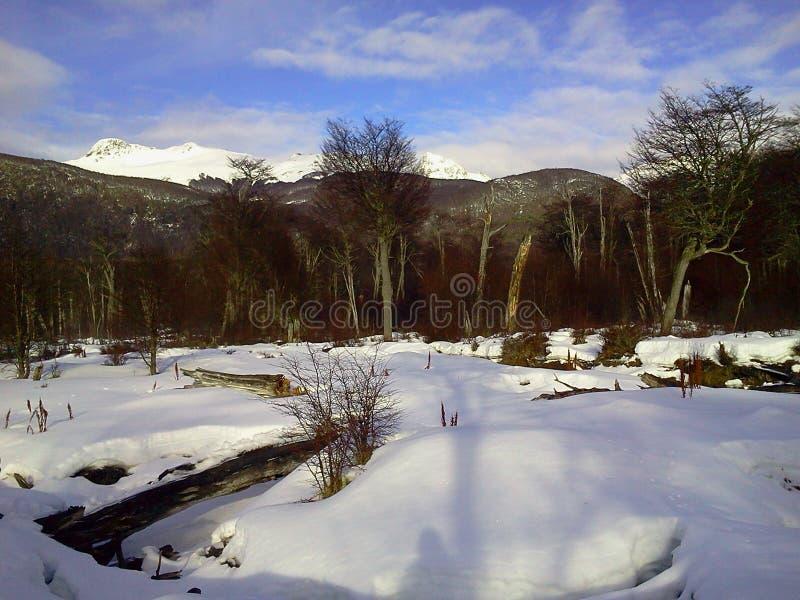 Schnee-Weltende Argentinien lizenzfreies stockfoto