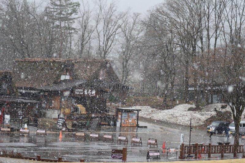 Schnee-Winter-Baum Shirakawago-Gebirgstraditionelle Haus-Architektur-Japan-Reise stockfotografie