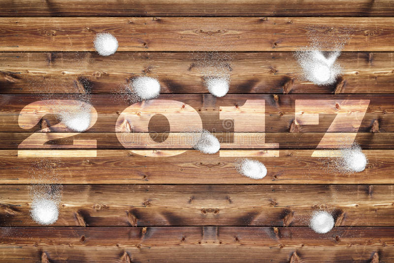 Schneebälle des hölzernen Brettes 2017 lizenzfreie abbildung