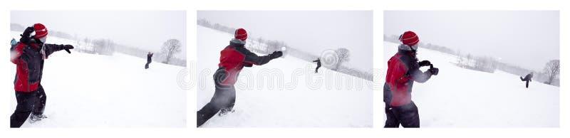 Schneeballwerfen stockfotos
