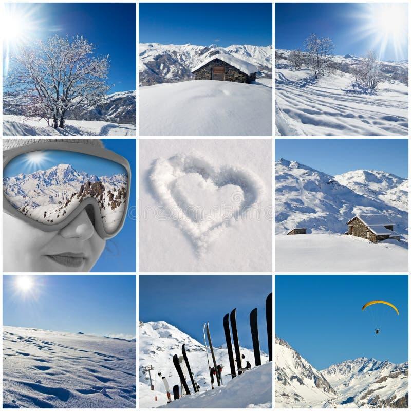 Schneebedeckte Collage des Winters Landschafts stockfoto