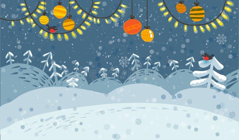 Schneebedeckte Fahne des Winters Landschaftsmit Vögeln vektor abbildung