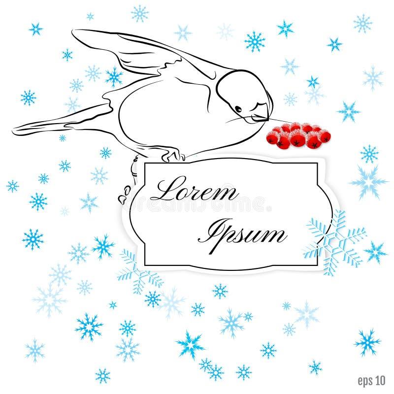 Schneebedeckte Karte des Winters mit schönem Bullfinch mit Niederlassung roten ro stock abbildung