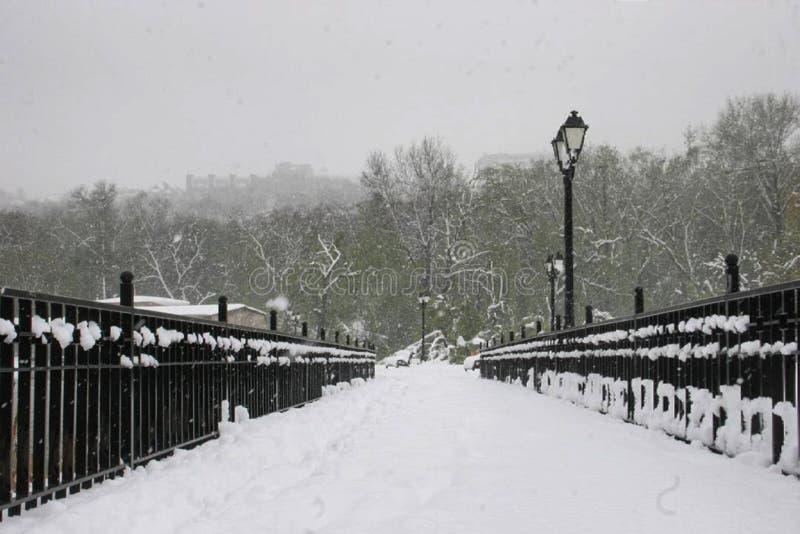 Schneebedeckte Pflasterung stockfotografie