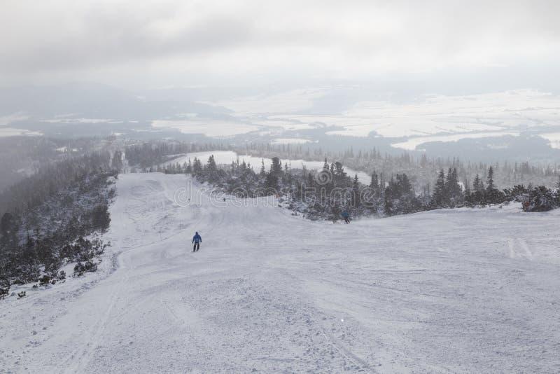 Schneebedeckte Skisteigungen, nebeliger Wintertag stockbild