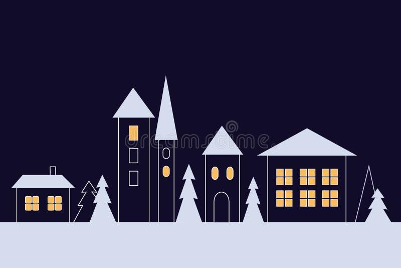 Schneebedeckte Stadtstraße des Winters mit Rathaus nachts stockbilder