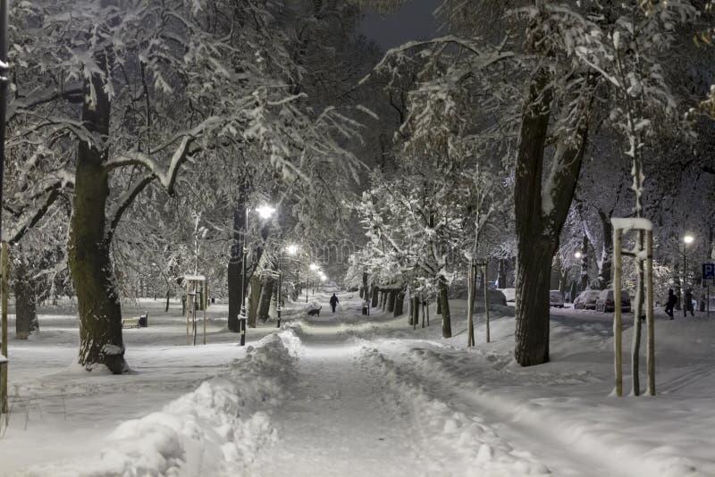 Schneebedeckter Durchgang in der Stadt am Abend stockfotos