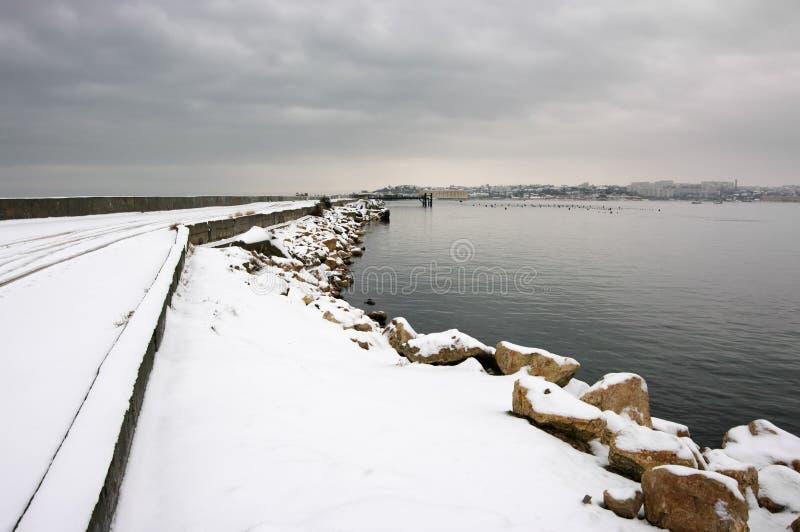 Schneebedeckter Meerblick des Winters lizenzfreies stockfoto