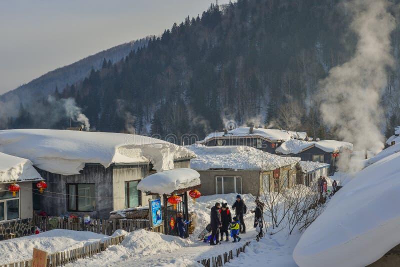 Schneedorf in Harbin, China stockfoto