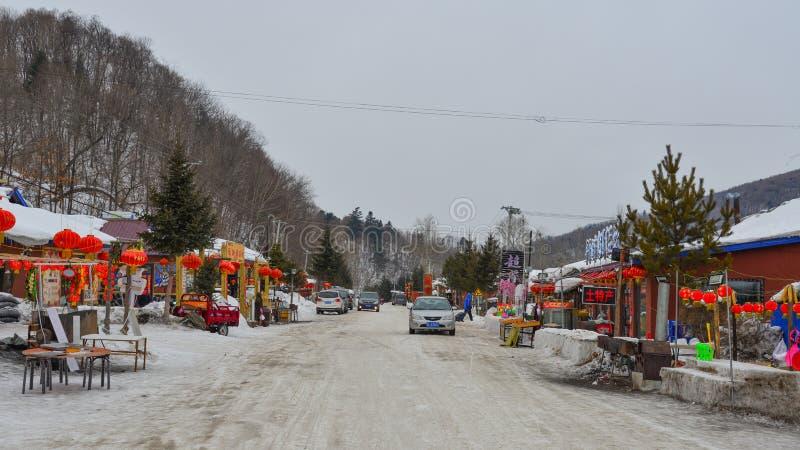 Schneedorf in Mohe-Grafschaft, China lizenzfreies stockbild