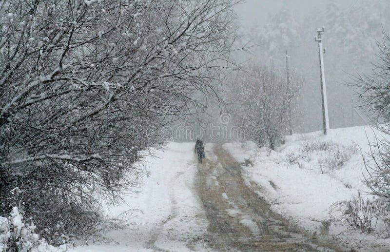 schneefälle Die Weise zu arbeiten stockbild