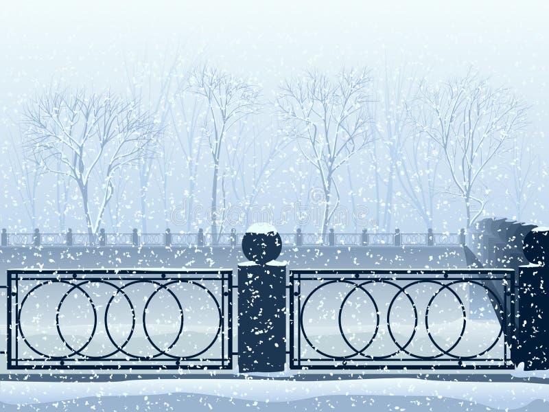 Schneefälle im Park mit Flusskanal und -brücke. vektor abbildung