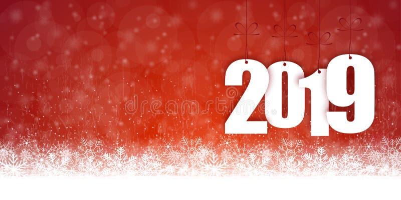 Schneefallhintergrund für Weihnachten und neues Jahr 2019 lizenzfreie abbildung