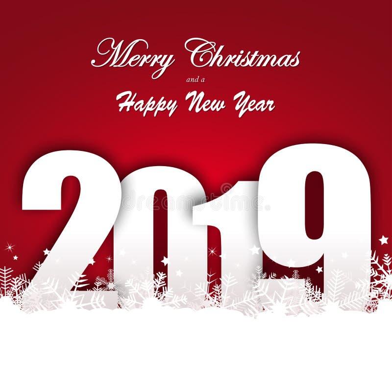 Schneefallhintergrund für Weihnachten und neues Jahr 2019 stock abbildung