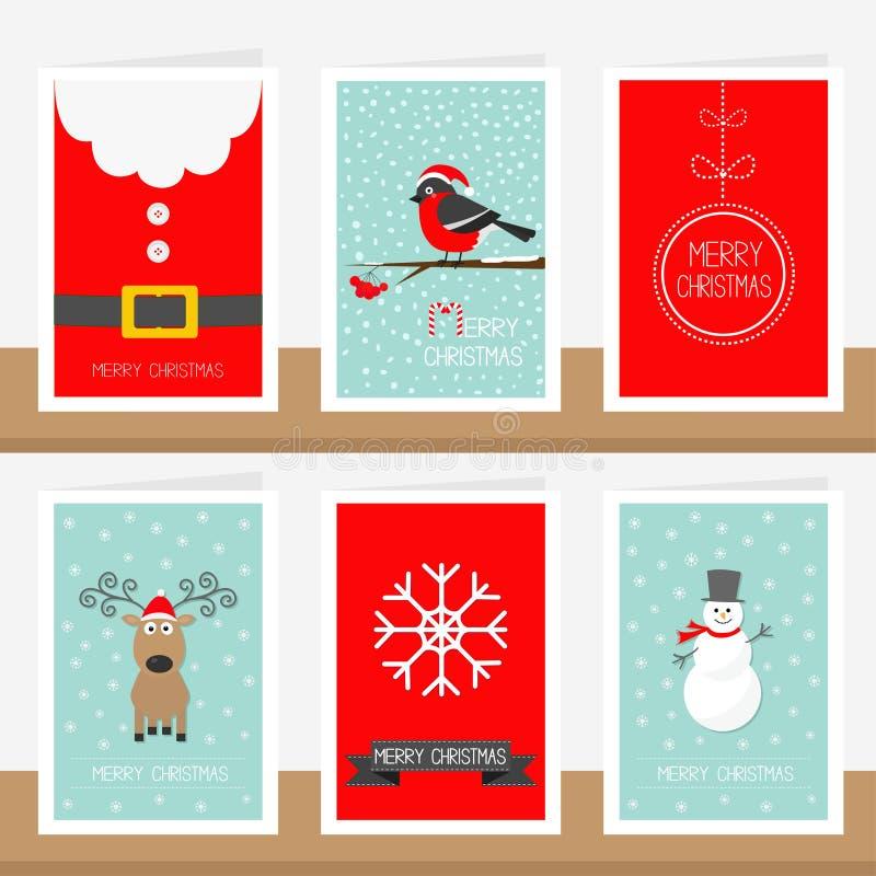 Schneeflocke, Band, Santa Claus-Kostümgurt, Tierdompfaff, Ball, Schneemann, Rotwild Text der frohen Weihnachten Gruß-Karten-Satz  stock abbildung