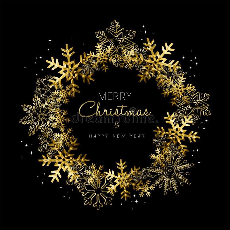 Schneeflocke der frohen Weihnachten und des neuen Jahres Goldwinden stock abbildung