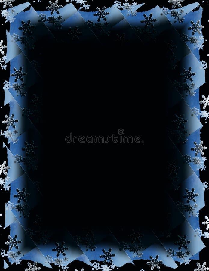 Schneeflocke-Fliese-Rand über Schwarzem lizenzfreie abbildung