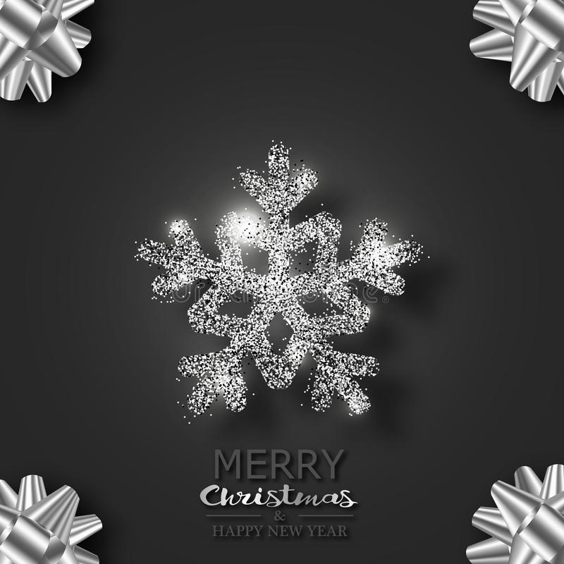 Schneeflocke mit Scheinen und Höhepunkten auf einem schwarzen Hintergrund Universalschablone für Grußkarte, Webseite, Hintergrund vektor abbildung