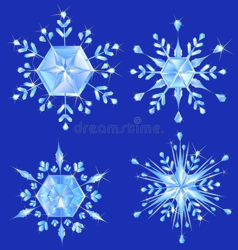 Schneeflocke mit vier Kristallen stock abbildung