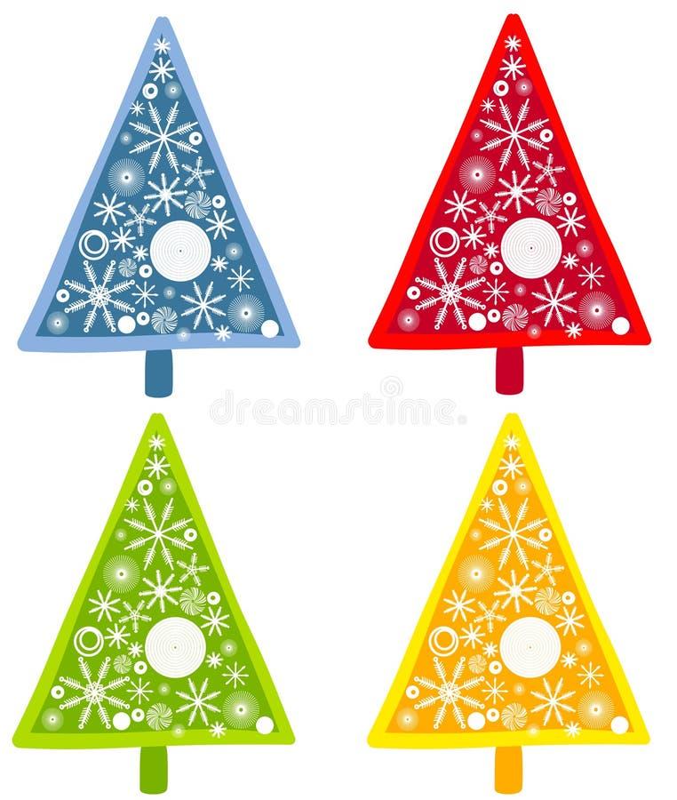 Schneeflocke-Weihnachtsbäume vektor abbildung