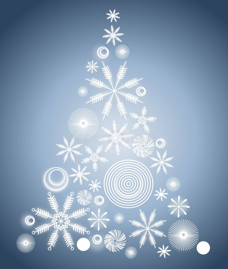 Schneeflocke-Weihnachtsbaum-Blau lizenzfreie abbildung
