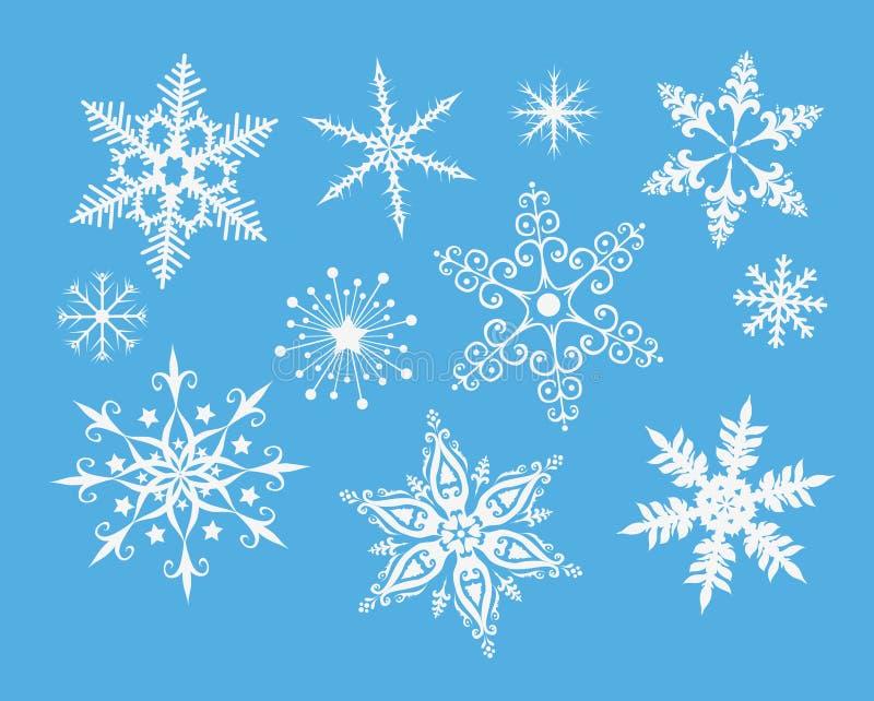 Schneeflocken auf Blau stock abbildung