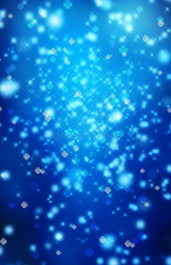 Schneeflocken auf einem blauen Hintergrund. stock abbildung