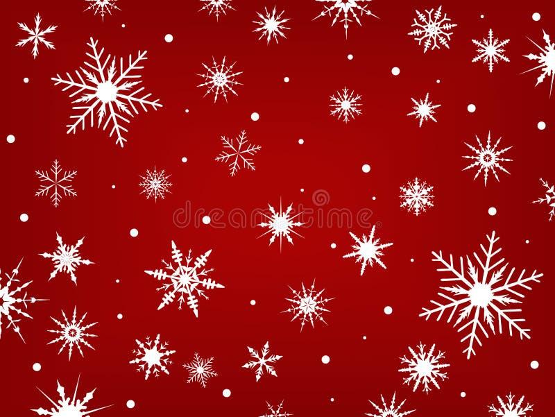Schneeflocken auf einem roten Hintergrund vektor abbildung