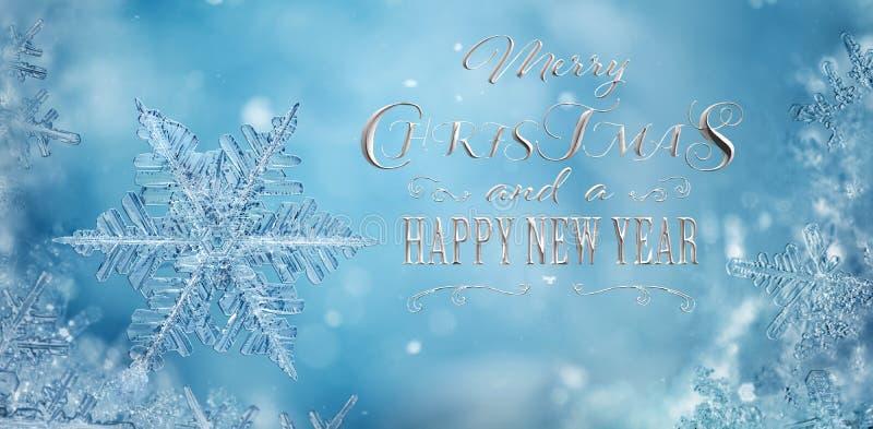 Schneeflocken im Winterhintergrund mit Weihnachten stockfoto