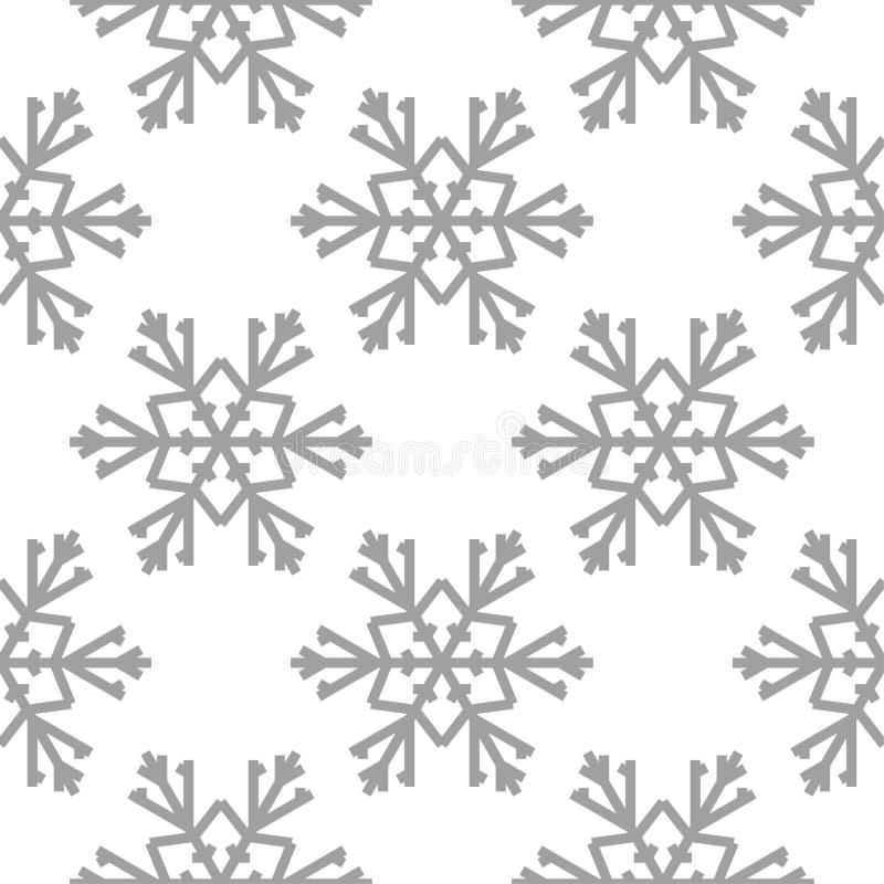 Schneeflocken Nahtloses Muster Weiße und graue Winterverzierung stock abbildung