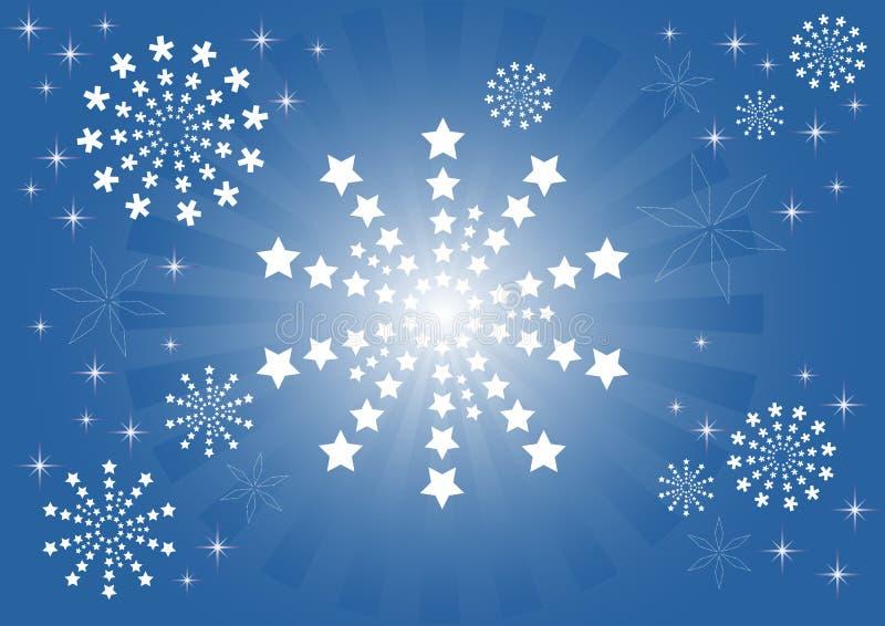 Schneeflocken und Sterne lizenzfreie abbildung
