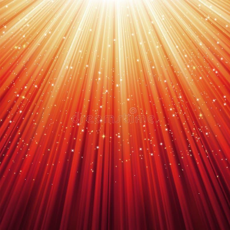 Schneeflocken und Sterne auf goldener Leuchte. ENV 8 lizenzfreie abbildung