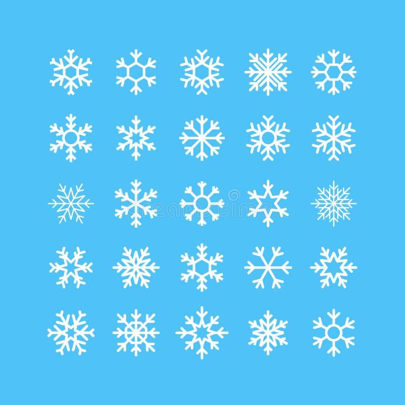 Schneeflocken-Vektor-Ikonen eingestellt stock abbildung