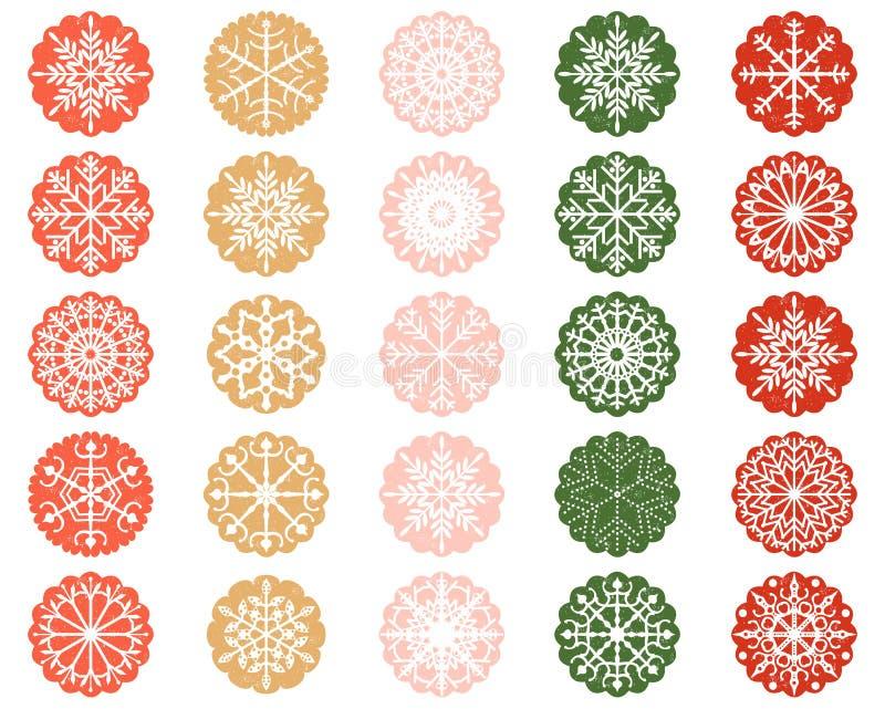 Schneeflocken-Verzierungen in Farbe ausgebogten Kreisen stock abbildung