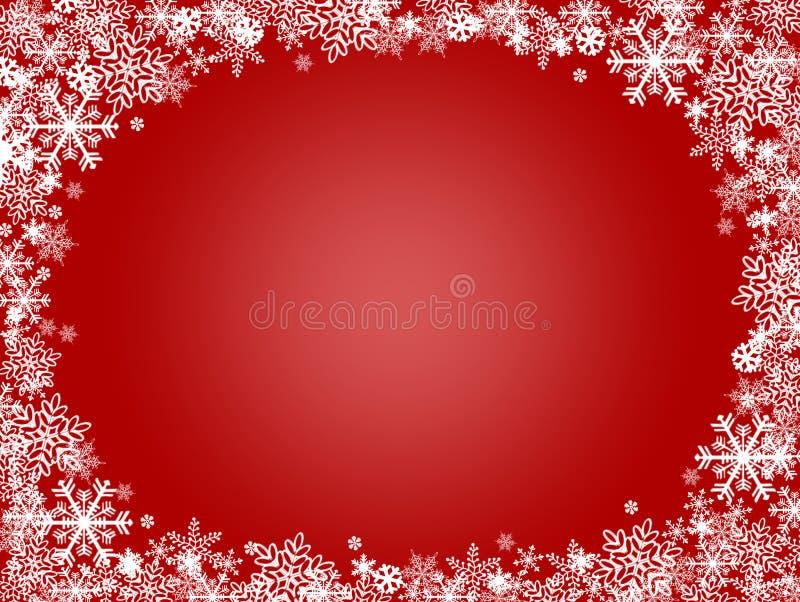Schneeflocken-Weihnachtsrot-Hintergrund stock abbildung