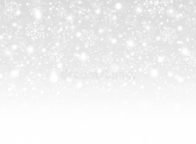 Schneeflockenhintergrund der frohen Weihnachten mit weißer Steigungsthemaillustration stock abbildung
