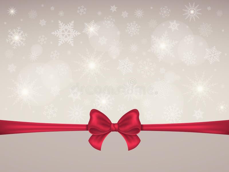 Schneeflockenhintergrund mit rotem Satinbogen und -band Winter-Weihnachtsneues Jahr-Hintergrundkarte oder -fahne Vektor stock abbildung