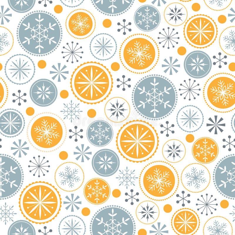 Schneeflockenmuster auf weißem Hintergrund stock abbildung