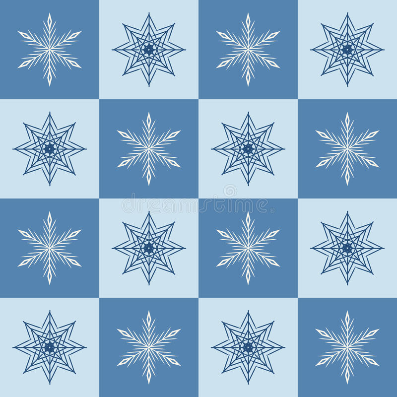 Schneeflockenmuster Karierter Winterhintergrund des nahtlosen Vektors lizenzfreie abbildung