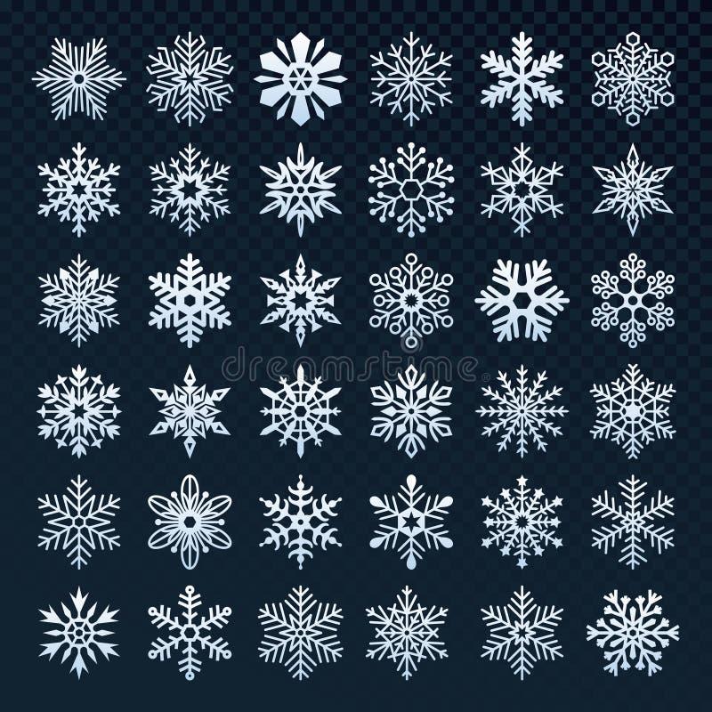 Schneeflockenschattenbild Winterschneesymbol, Eisschneefälle und kalte Schneeflocke lokalisierter Vektorikonensatz stock abbildung
