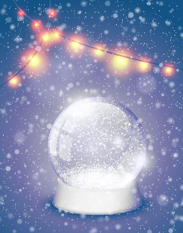 Schneekugel Weihnachtszauberball mit Hintergrund der gelben Lichter Weihnachts-snowglobe Grußkarten-Vektorillustration Winter im  lizenzfreie abbildung