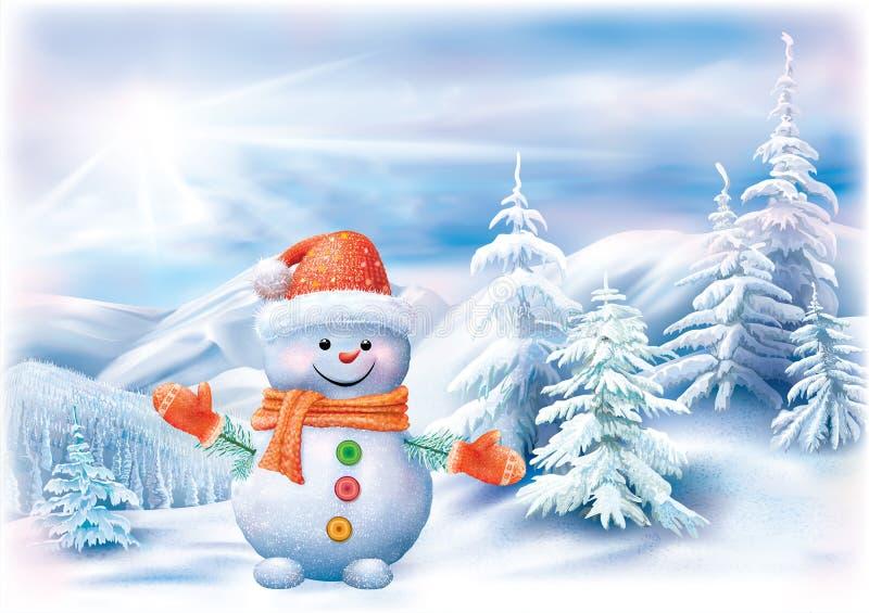 Schneemann auf einer Winterlandschaft lizenzfreie abbildung