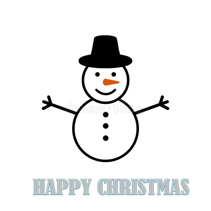 Schneemann, der flache Kappe auf einem weißen Hintergrund trägt Glückliches Weihnachten stock abbildung